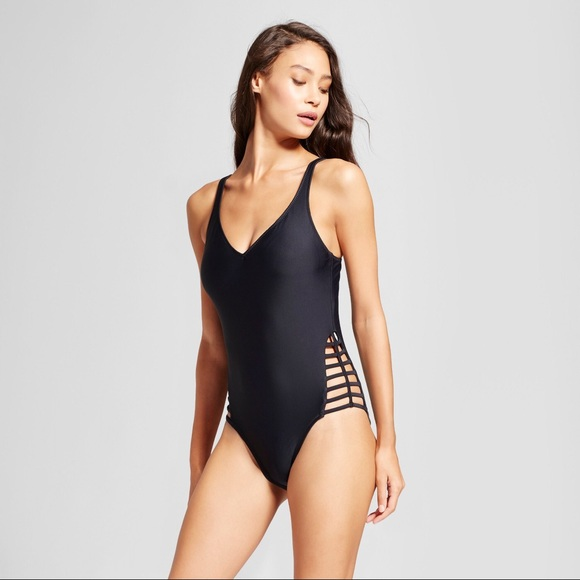 f3b1d13ed5 Mossimo Supply Co. Swim | Black Deep V Strappy Side One Piece Suit ...